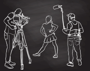 On a black backlground, three figures are sketched in white outlines, one has a video camera, one holds a boom mic and the third poses in front of them