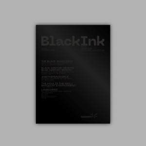 A magazine cover, in black. Text says BlackInk