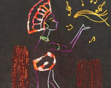 On a dark background, colourful line drawing of a woman singing.