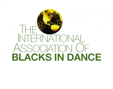 The words The International Association of Blacks in Dance in green text on a white background