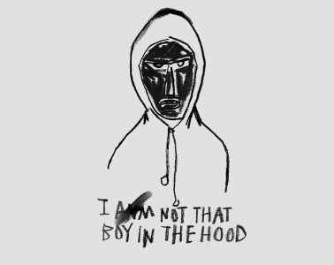 An illustrative artwork of a Black man in a hooded tops. Text reads 'I am not that boy in the hood'.