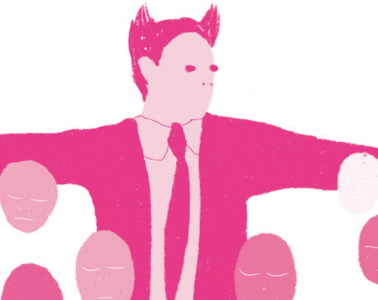 An illustration of a character wearing a suit and tie. Arms outstretch to reveal a range of multi-coloured egg shaped faces.