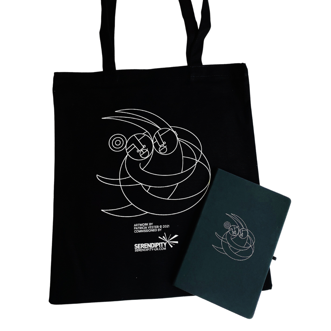 Notebook and Totebag Designed by Patricia Vester — Page Banner